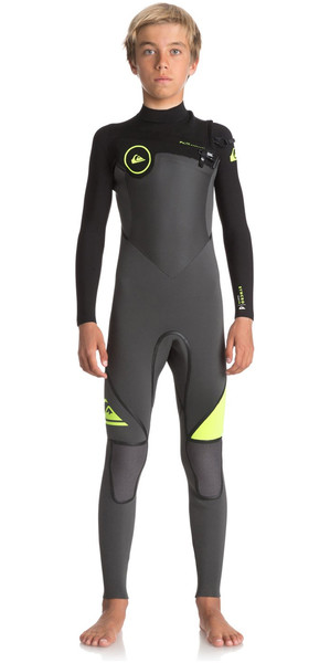 2018 Quiksilver Boys Syncro + Canotta con zip petto 4 / 3mm JET BLACK / SAFETY YELLOW EQBW103029
