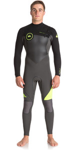 2018 Quiksilver Syncro+ 4/3mm Chest Zip Wetsuit JET BLACK / SAFETY YELLOW EQYW103044