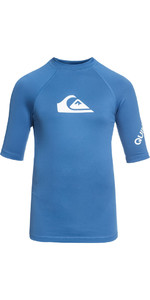 2018 Quiksilver Boys All Time Kurzarm Rash Weste ELECTRIC BLUE EQBWR03006