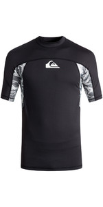 2018 Quiksilver Slash Short Sleeve Rash Vest BLACK EQYWR03090