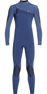 2019 Quiksilver Junior Boys Highline 4/3mm Azip Ltd Wetsuit Iodine Blue / Cascade Blue EQBW103045