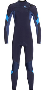 2019 Quiksilver Junior Dreng Syncro 4/3mm Chest Zip Våtdrakt Mørk Navy / Jod Blå Eqbw103053
