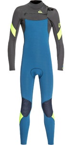 2019 Quiksilver Junior Boy's Syncro 4/3mm Chest Zip Wetsuit Marina / Jet Black Eqbw103053