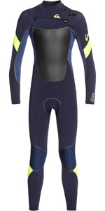 2020 Quiksilver Junior Boy Syncro Plus 4/3mm Chest Zip Navy Oscuro / Azul Yodo / Amarillo Eqbw103048