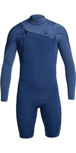 Quiksilver 2021 Highline Limited 2mm Chest Zip Shorty Wetsuit Eqyw403012 - Iodo Azul / Azul Cascata