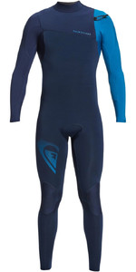 2021 Quiksilver Mannen Highline Lite 3/2mm Chest Zip Wetsuit Eqyw103099 - Night Indigo