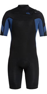 2021 Quiksilver Mens Syncro 2mm Chest Zip Shorty Wetsuit EQYW503014 - Black / Iodine Blue