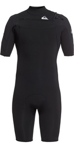 2021 Quiksilver Dos Homens Syncro 2mm Chest Zip Shorty Wetsuit Eqyw503023 - Preto / Prata