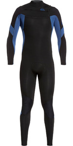 2019 Quiksilver Mannen Syncro 4/3mm Chest Zip Wetsuit Zwart / Jodium Blauw Eqyw103087