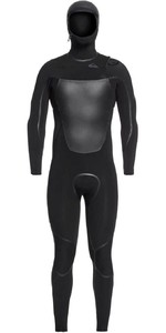 2020 Quiksilver Mannen Syncro Plus 4/3mm Hooded Chest Zip Wetsuit Eqyw203012 - Zwart / Jet Black