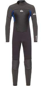 2021 Quiksilver Criança Menino Prologue 4/3mm Back Zip Wetsuit Jet Black / Nite Blue Eqbw103038