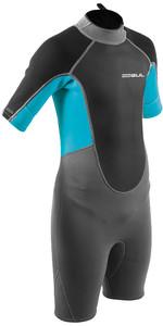 2021 Gul Junior Response 3/2mm Shorty Back Zip Re3322-b9 - Grijs / Blauw Aster