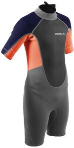 2021 Gul Junior Response 3/2mm Back Zip Flatlock Shorty Wetsuit Re3322-b9 - Grijs / Oranje