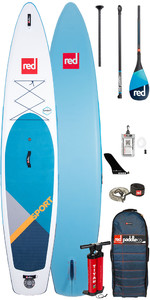 "2020 Red Paddle Co Sport MSL 12'6 ""aufblasbares Stand Up Paddle Board - Carbon 100 Paddel Paket"