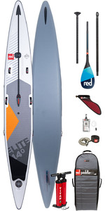 "2020 Red Paddle Co Elite MSL 14'0 ""x 25"" Aufblasbares Stand Up Paddle Board - Carbon 100 Paddel Paket"
