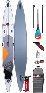 "2020 Red Paddle Co Elite MSL 14'0 ""x 25"" Aufblasbares Stand Up Paddle Board - Carbon 50 Paddel Paket"
