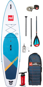 """2020 Red Paddle Co Sport Msl 11'0 """"planche De Stand Up Paddle Board Gonflable - Paquet De Paddle Midi En Carbone / Nylo"""