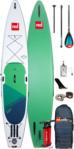 """Stand Up Paddle Board Gonflable Red Paddle Co Voyager Plus 13'2 """"- Paquet De Paddle Midi En Carbone / Nylon"""
