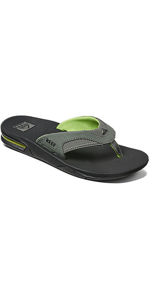 2018 Reef Fanning Bottle Opener Flip Flops BLACK / GREEN R02026
