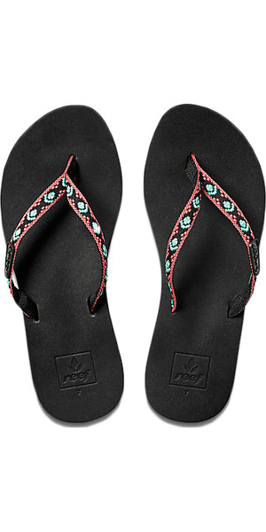 2018 Reef Womens Ginger Flip Flops BLACK / AQUA R01660