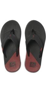 2020 Reef Mens Fanning Low Flip Flops / Sandals RF0A3KIH - Black / Rust