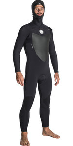 2018 Rip Curl Flashbomb 6 / 4mm Com Capuz Peito Zip Wetsuit PRETO WST7OF