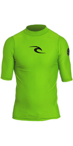 2019 Rip Curl Junior Boy's Corpo S / S Uv Tee Rash Vest Lime Wly5db