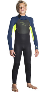 2019 Rip Curl Junior Omega 4 / 3mm GBS Tillbaka Zip Wetsuit LIME WSM5FB