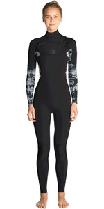 2019 Rip Curl Womens Flashbomb 4/3mm Chest Zip Wetsuit BLACK / GREY WST7FS