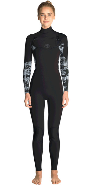 2019 Rip Curl Womens Flashbomb 5/3mm Chest Zip Wetsuit BLACK / GREY WST7GS