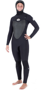 Rip Curl Womens Flashbomb 6/4mm Hooded Chest Zip Wetsuit BLACK WST7HG