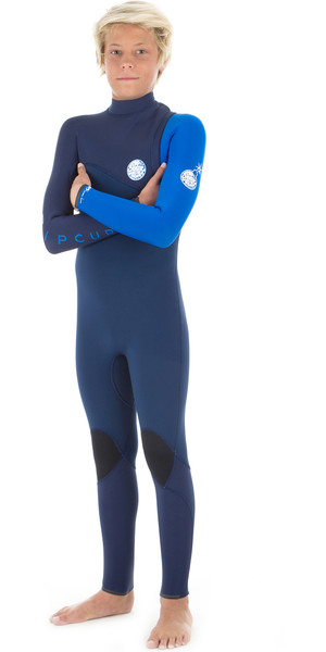 2019 Rip Curl Junior Flashbomb 4 / 3mm Zip Wetsuit blu WSM8MB