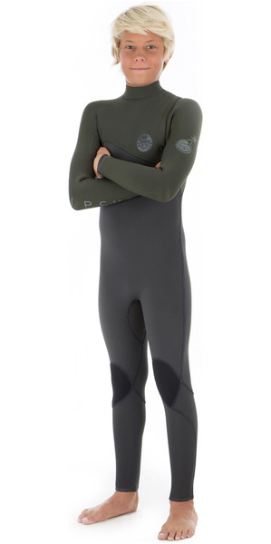2019 Rip Curl Junior Flashbomb 4/3mm Zip Free Wetsuit KHAKI WSM8MB