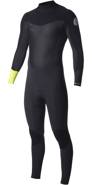 2018 Rip Curl Dawn Patrol 3/2mm GBS Back Zip Wetsuit Fluro Lemon WSM7DM