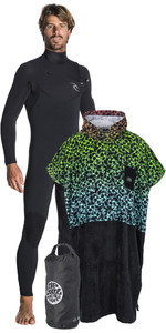 Rip Curl Mens Dawn Patrol 4 / 3mm Borst Zip Wetsuit + Team Poncho / Changing Robe & Small Wetsack