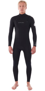 2021 Rip Curl Heren Dawn Patrol Performance 4/3mm Wetsuit Met Chest Zip Zwart WSM9WM