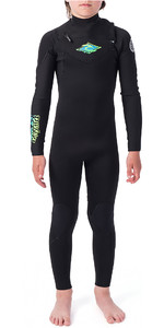 2019 Rip Curl Junior Dawn Patrol 4/3mm Chest Zip Wetsuit Black / Green WSM9LB
