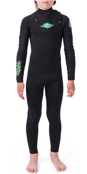 2019 Rip Curl Junior Aggrolite 3/2mm Chest Zip Wetsuit Black / Green WSM9KB
