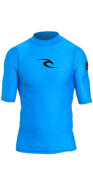 2019 Rip Curl Junior Boys Corpo S / S UV Tee Rash Vest blu WLY5DB