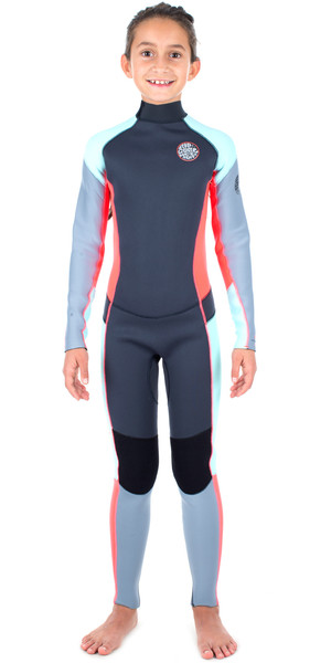 Rip Curl Junior Dawn Patrol 4/3mm Back Zip Wetsuit GREY / PINK WSM6BJ