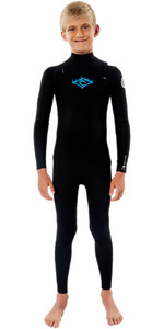 Traje De Neopreno 2020 Rip Curl Junior Dawn Patrol 4/3mm Chest Zip Wsm9lb - Negro / Blanco