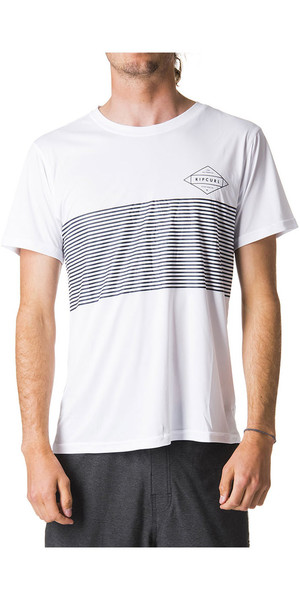 2018 Rip Curl Linear Surflite UV UPF50+ Short Sleeve Tee White WLY7CM