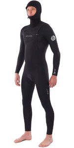 2020 Rip Curl Heren Dawn Patrol 5/4 5/4mm Wetsuit Met Capuchon En Chest Zip Zwart WSM9BM
