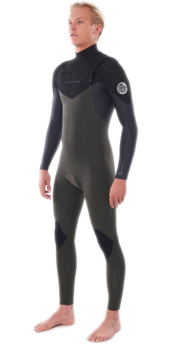 2021 Rip Curl Homens Dawn Patrol Do Dawn Patrol Calor 4/3mm Chest Zip Wetsuit Wsm9cm - Verde Escuro
