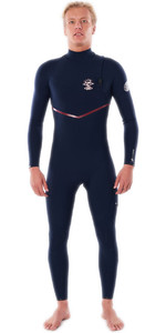 Traje De Neopreno 2021 Rip Curl Hombres Flashbomb Search 4/3mm Zip Free Wsm9bf - Navy / Rojo