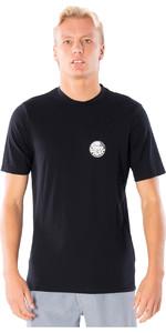 2021 Rip Curl Mens Wettie logo Short Sleeve UV50+ Rash Vest WLYYRM - Black