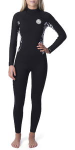 2019 Rip Curl Womens Dawn Patrol 4/3mm Back Zip Wetsuit Black / Black WSM9FS