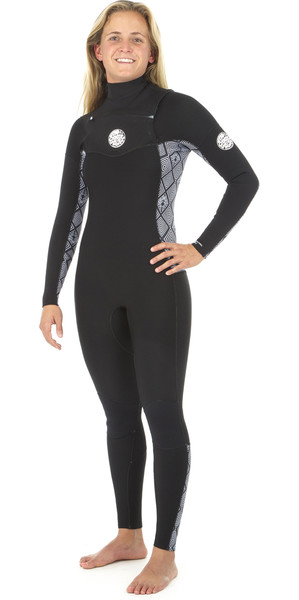 2019 Rip Curl Womens Dawn Patrol 5 / 3mm GBS Slip zip petto NERO / BIANCO WSM8IS
