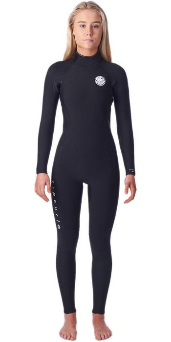 2021 Rip Curl Womens Dawn Patrol 4/3mm Back Zip Wetsuit WSM9QW - Black