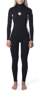 2020 Rip Curl Womens Dawn Patrol 4/3mm Chest Zip Wetsuit Black WSM9BS
